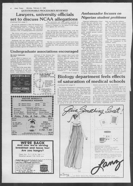 Daily Trojan, Vol. 91, No. 20, February 08, 1982