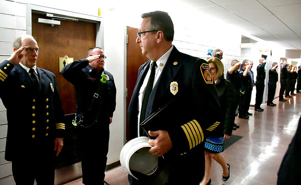 1/14/2020 Mike Orazzi | Staff Retiring Bristol Fire Chief Jay Kolakoski is honored at Bristol City Hall on his way to his last fire board meeting on Tuesday evening.