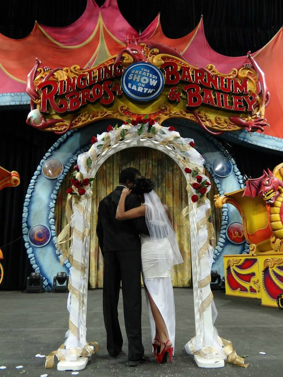 . Ringling Bros. performers Andre and Daniele McClain at their surprise circus wedding at the Denver Coliseum on Oct. 2, 2012. Ringling Bros. photo