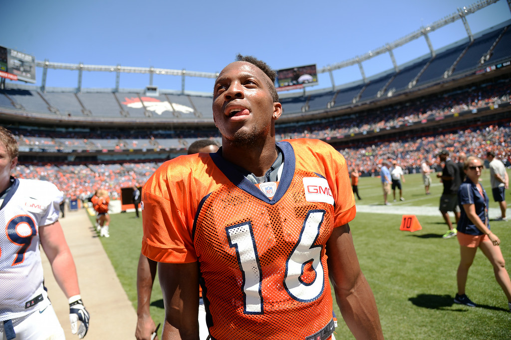 . Bennie Fowler of Denver Broncos (16) is leaving the field after the Broncos scrimmage at Sports Authority Field at Mile High. Denver, Colorado. August 02. 2014. (Photo by Hyoung Chang/The Denver Post)