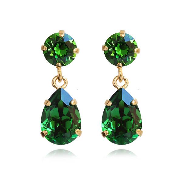 Mini Drop Earrings / Dark Moss Green / Gold