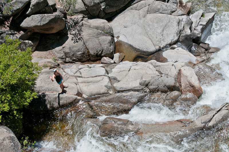 Hannah found her way down below Cascade Falls -- shot from the bridge above