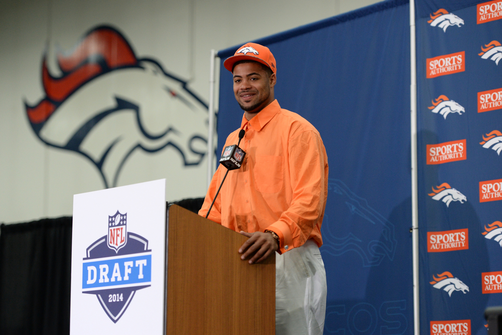 . Denver Broncos introduced WR Cody Latimer from Indiana University in the second round of the 2014 NFL draft. Centennial, Colorado. May 10. (Photo by Hyoung Chang/The Denver Post)