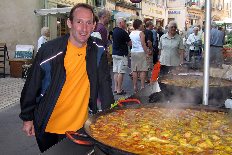 Market Day in St. Remy: early morning stewing of paella