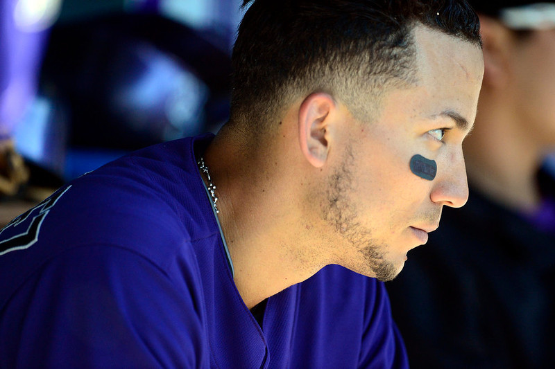 . DENVER, CO - JUNE 9: Colorado Rockies left fielder Carlos Gonzalez (5) watches the action against the San Diego Padres during the Rockies\' 8-7 10-inning win in Denver. The Colorado Rockies hosted the San Diego Padres. (Photo by AAron Ontiveroz/The Denver Post)