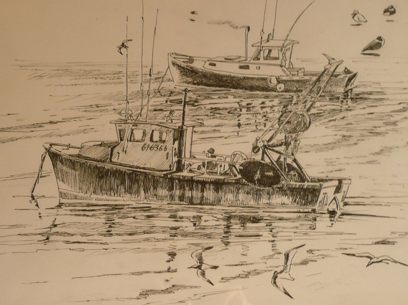 Pen and Ink sketch of boats, reflections and sea gulls.  Ala prima, plein aire. 14X12
