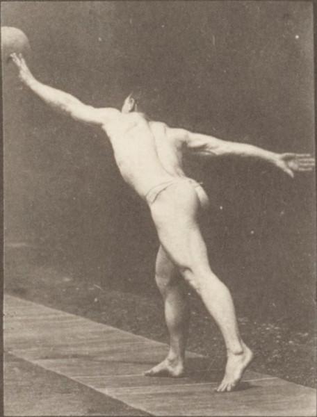 Man in pelvis cloth striking a blow, throwing a disk, heaving a 75-lb stone, throwing a ball