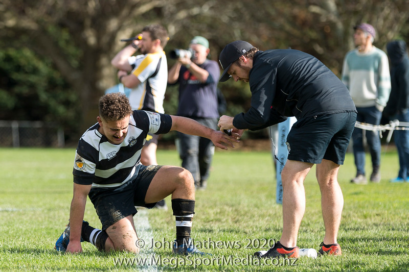Brooklyn Greer-Atkins with finger problems on 11 July 2020 at the Rugby match between St Patrick's College Silverstream (Blue) and New Plymouth Boys High School (Black) held at  St Patrick's College Silverstream , Heretaunga, Wellington, New Zealand.   Final Score: Stream 31 NPBHS 32