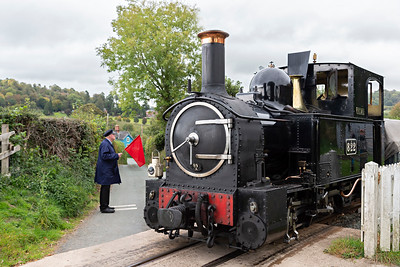 The Earl #822 is flagged across the road at Cyfronydd Station