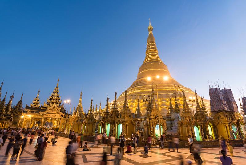 Crowds of Visitors at Shwedagon Pagoda at Night, Yangon (Rangoon), Myanmar (Burma)