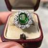 4.38ctw Art Deco Russian Demantoid & Diamond Cluster Ring 25