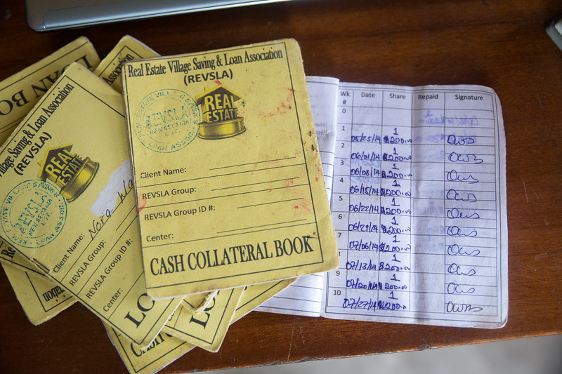 Monrovia, Liberia October 6, 2017 -  Loan book and papers for REVSLA.