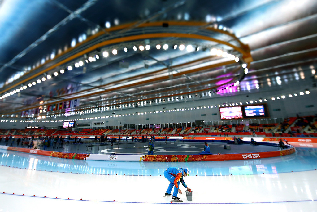 . The ice is prepared during the Women\'s 3000m Speed Skating event during day 2 of the Sochi 2014 Winter Olympics at Adler Arena Skating Center on February 9, 2014 in Sochi, Russia.  (Photo by Streeter Lecka/Getty Images)