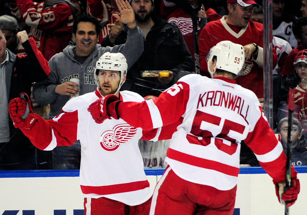 . Detroit Red Wings Tomas Tatar, left, of Slovakia, celebrates his goal with Niklas Kronwall (55), of Sweden, during the second period of an NHL hockey game against the Buffalo Sabres Sunday, Nov. 2, 2014, in Buffalo, N.Y. (AP Photo/Gary Wiepert)