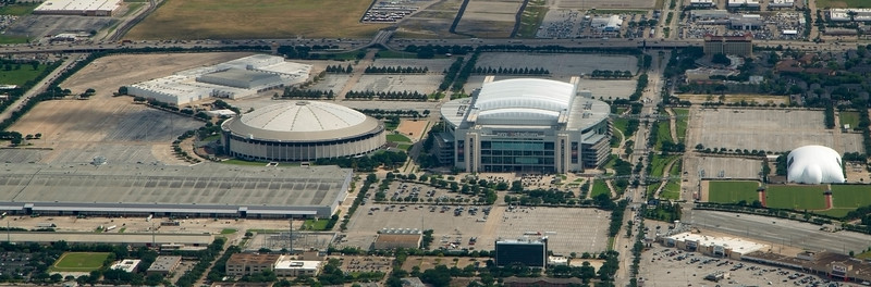 L to R: Astrodome, NRG Stadium, Houston Texans Practice Facility