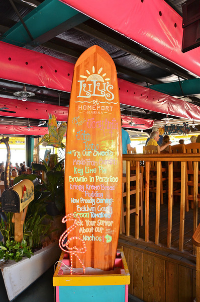 Yes, I know that Lulu's at Homeport Marina is in Gulf Shores, AL which is NOT the Florida Panhandle; however, there is no way we could come this far and not visit Jimmy Buffett's Crazy Sista's place.  Lucy Buffett established this great restaurant a few years ago on the Intercoastal Waterway and it is now famous worldwide for good food, fun and entertainment.  It was necessary for us to visit Lulu's to complete the full Buffett family weekend!