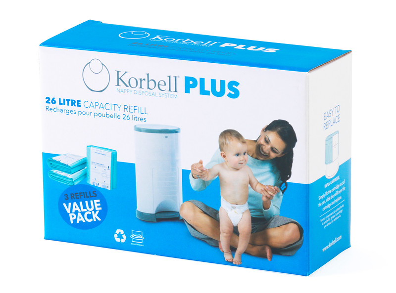 Korbell_Nappy_Bin_Packaging_Shot_Plus_26L_Three_Refills_Front_Angle.jpg