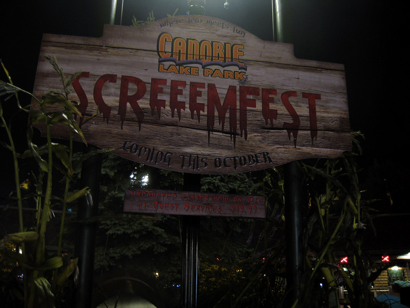 ScreeemFest sign at night, in the fog.