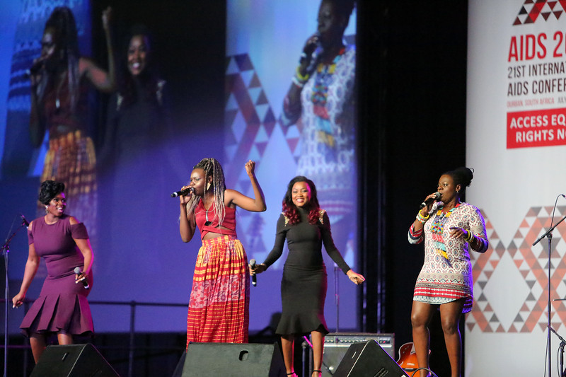 21st International AIDS Conference (AIDS 2016), Durban, South Africa. Monday 18th July 2016, VENUE : Durban ICC Main Hall Opening Ceremony Artists Gabon's Arielle, Selmor, Waje and Judith singing on stage Photo©International AIDS Society/Abhi Indrarajan