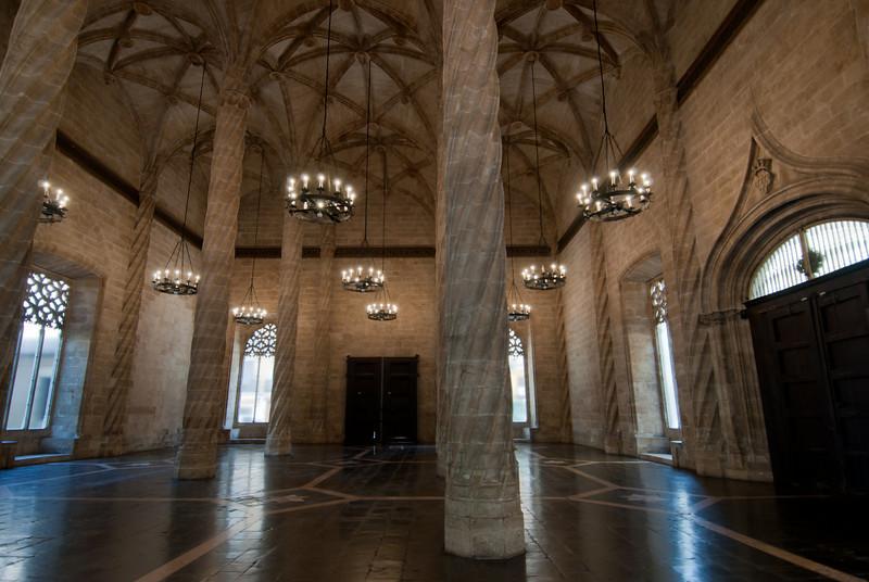 Inside Llotja de la Seda in Valencia, Spain