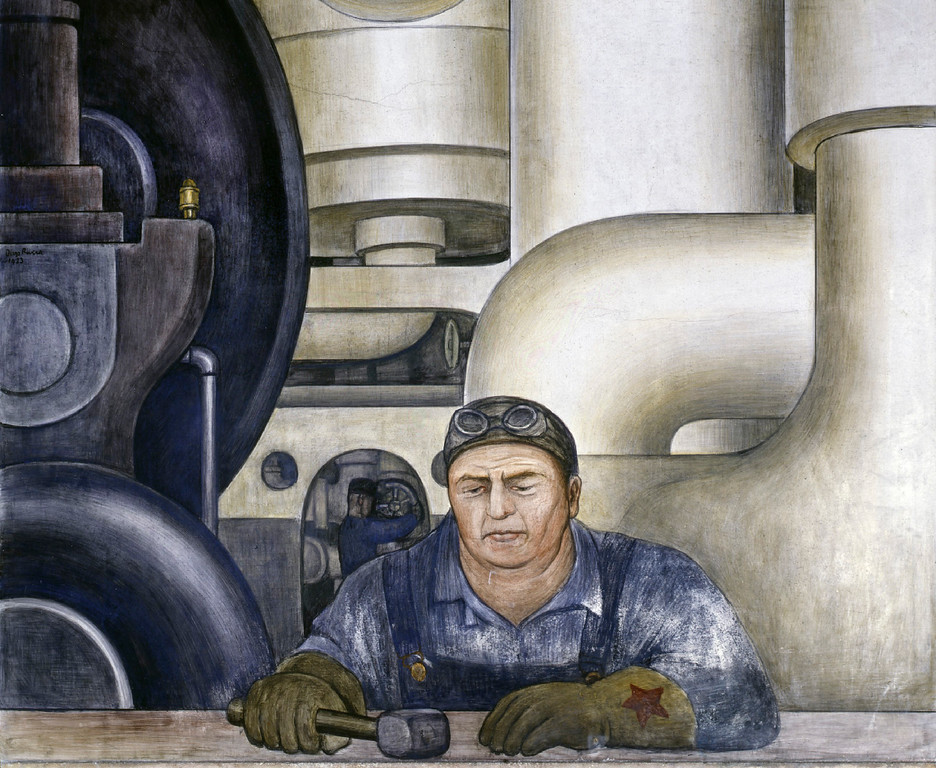 . Detroit Industry, west wall (detail), Diego Rivera, 1932-33, fresco. Detroit Institute of Arts (worker)