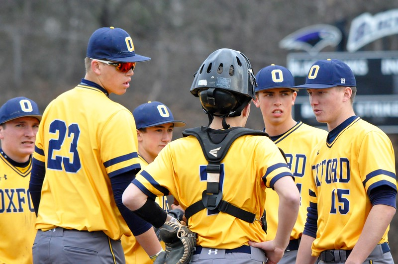 Bloomfield Hills hosted Oxford for an Oakland Activities Association baseball game on Friday, April 13, 2018. (Photo gallery by Dan Fenner/The Oakland Press)