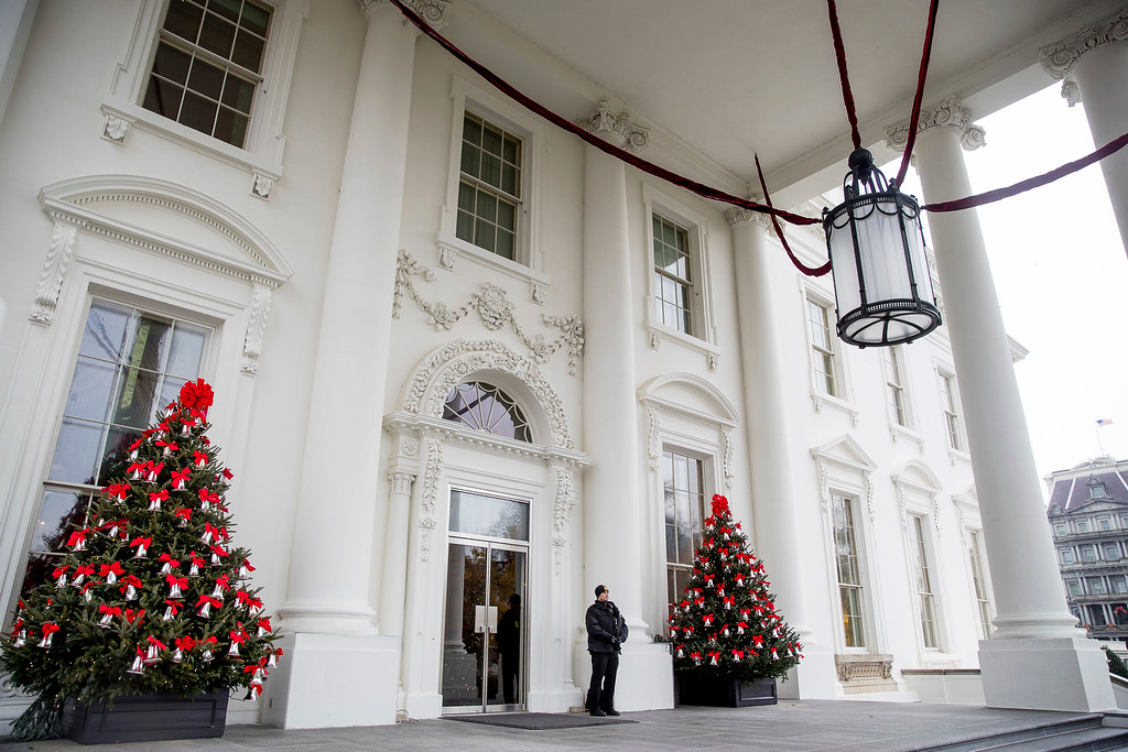 . The North Portico of the White House is decorated during a preview of the 2016 holiday decor, Tuesday, Nov. 29, 2016, in Washington. (AP Photo/Andrew Harnik)