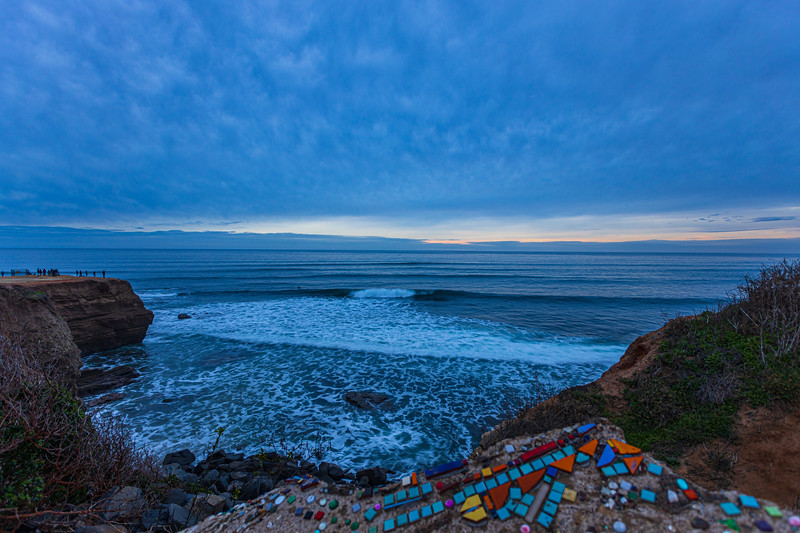 Blue And Gloomy Sunset At Sunset Cliffs.