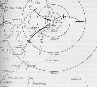 This simple map provides an overview of the route followed by the Doolittle Raiders on their April 18, 1942 attack against Japan.  It reflects the additional distance -- and risks -- for the crew who had to fly well beyond Tokyo before they could drop their payload and head for China.  Lt. Smith and his crew had targets in Kobe, well to the southwest of Tokyo.  Smith and his crew ran out of fuel and had to ditch near an island off the Chinese coast . Click on this map to get a closer look.