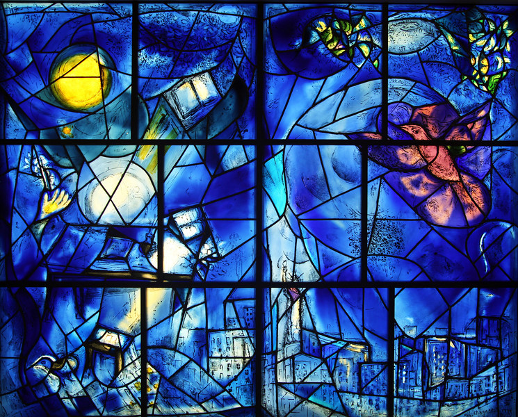 As we leave, the iconic Chagall stained glass windows.