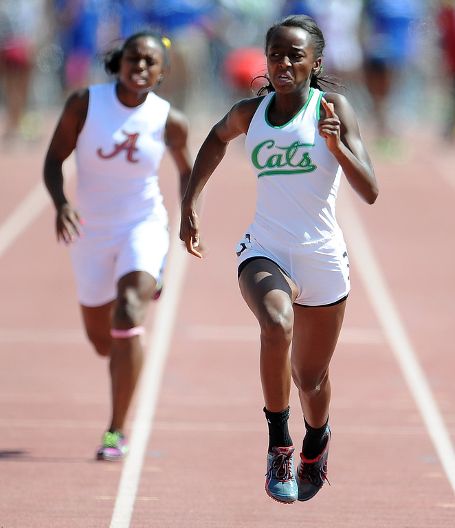 . Monrovia\'s Chastity Fellows in the 100 meters race during the CIF-SS track & Field championship finals in Hilmer Stadium on the campus of Mt. San Antonio College on Saturday, May 18, 2013 in Walnut, Calif.  (Keith Birmingham Pasadena Star-News)