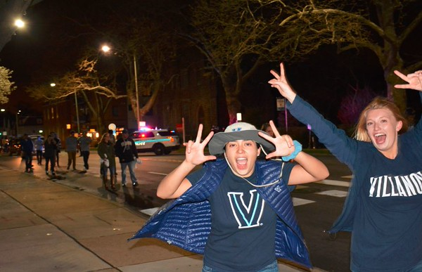 Villanova students on Lancaster Avenue 2016 win
