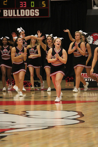 GWU Cheerleaders cheer on the Runnin' Bulldogs