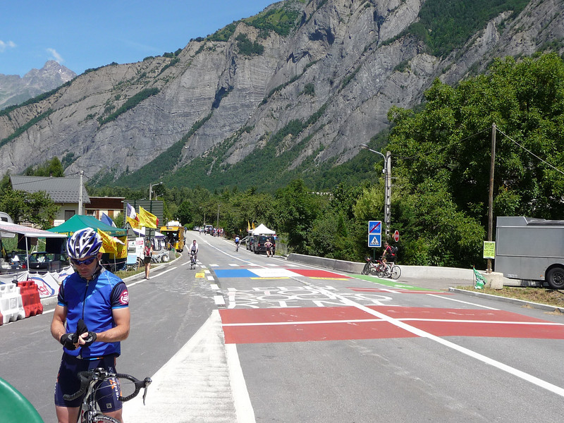 Street art on the road to Alpe d'Huez (in the background) Location - le Bourg d'Oisans