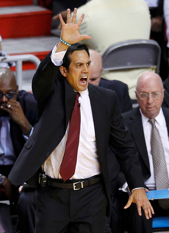 . Miami Heat head coach Erik Spoelstra directs his team against the San Antonio Spurs during the first quarter in Game 6 of their NBA Finals basketball playoff in Miami, Florida June 18, 2013. REUTERS/Joe Skipper
