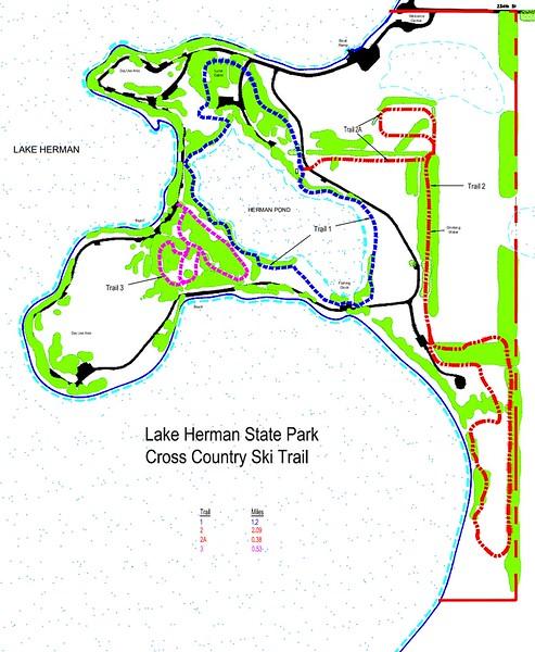 Lake Herman State Park (Winter Trail Map)
