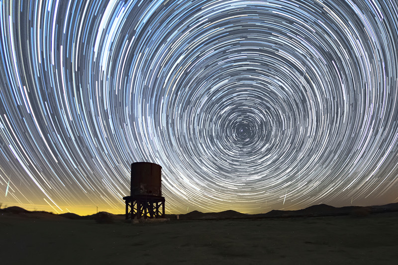 Star Trails Over Railroad Water Tower at Dos Cabezas Siding