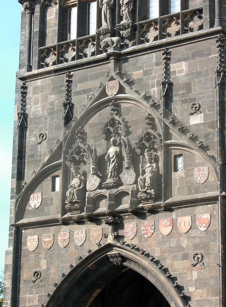 East tower detail. Charles IV (left); St. Vitas (center); Wenceslas IV (right).