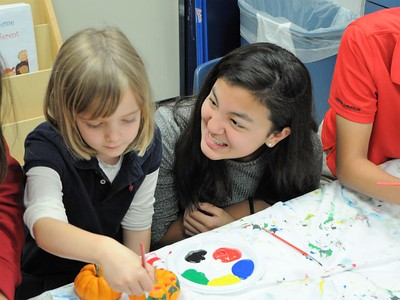 K and 8 Buddies Paint Pumpkins for NIH's Children's Inn