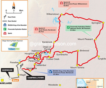 Tour Down Under Stage 3: Norwood > Campbelltown, 145kms