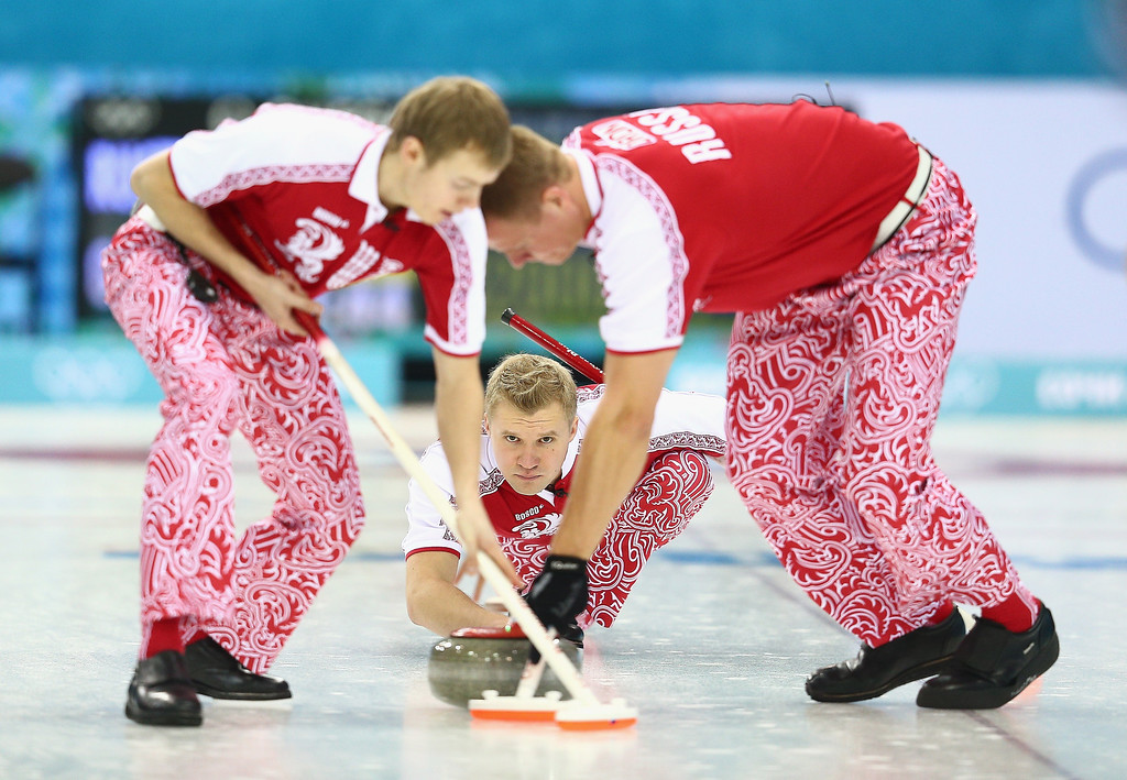 . Alexey Stukalskiy of Russia in action during the round robin match against Great Britain during day 3 of the Sochi 2014 Winter Olympics at Ice Cube Curling Center on February 10, 2014 in Sochi, Russia.  (Photo by Clive Mason/Getty Images)