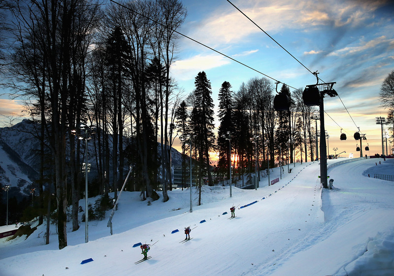 . A general view during the Men\'s 20km Individual Biathlon during day six of the Sochi 2014 Winter Olympics at Laura Cross-country Ski & Biathlon Center on February 13, 2014 in Sochi, Russia.  (Photo by Ryan Pierse/Getty Images)