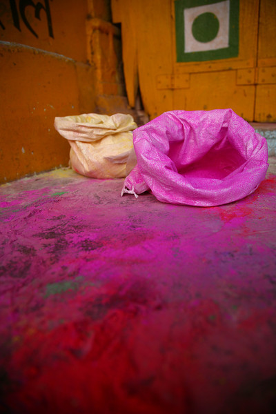 Empty powder bags in preparation for the Holi Festival, Bundi