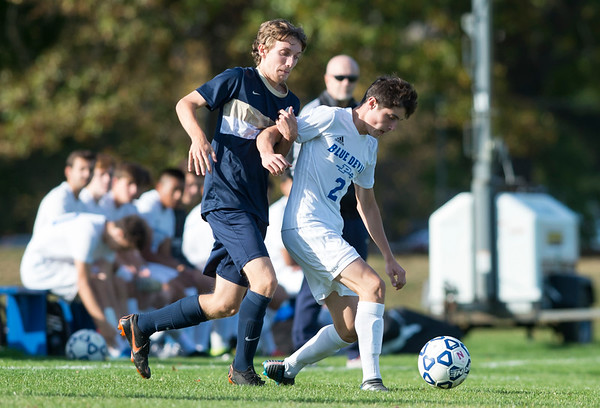 10/15/19 Wesley Bunnell | StaffrrPlainville boys soccer defeated host Newington 2-1 on Tuesday afternoon. Plainville's Tanner Rau (2).