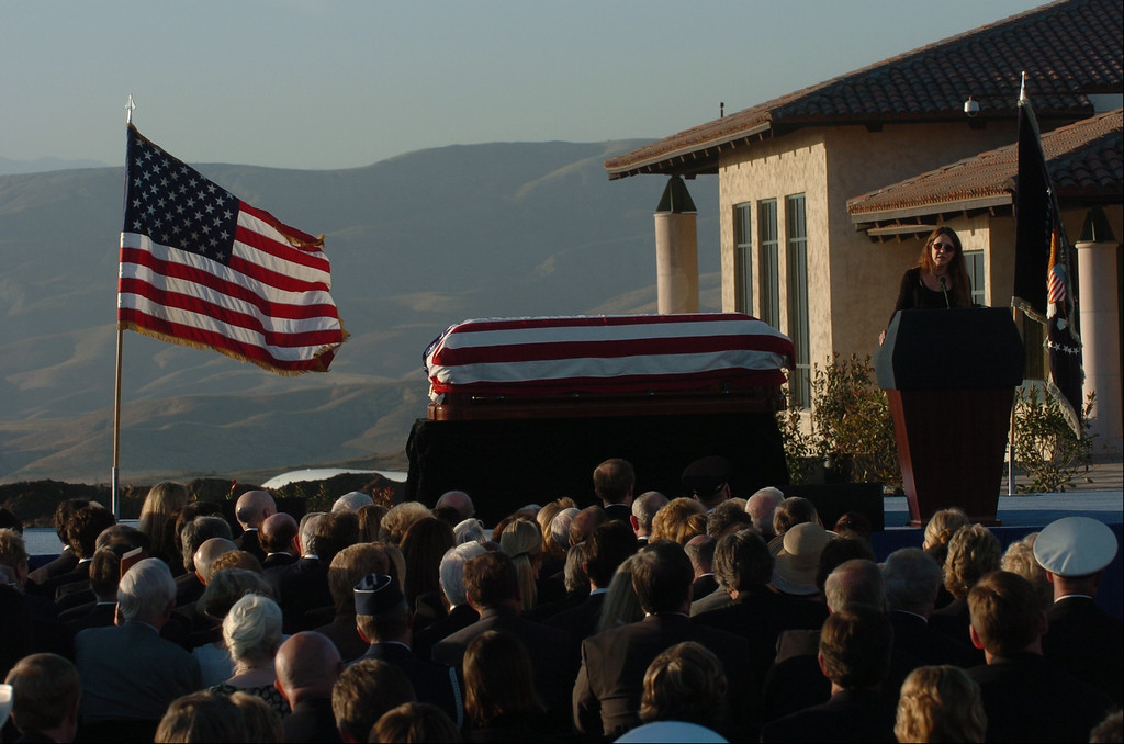 . 6/11/04--Simi Valley--  Patti Davis delivers her eulogy about her father during funeral services for the 40th President at the Ronald Reagan Library in Simi Valley, Ca, Friday, June 11th, 2004.    (Los Angeles Daily News file photo)