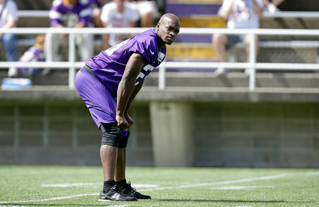 . Vikings running back Adrian Peterson catches his breath between drills. (AP Photo/Charlie Neibergall)