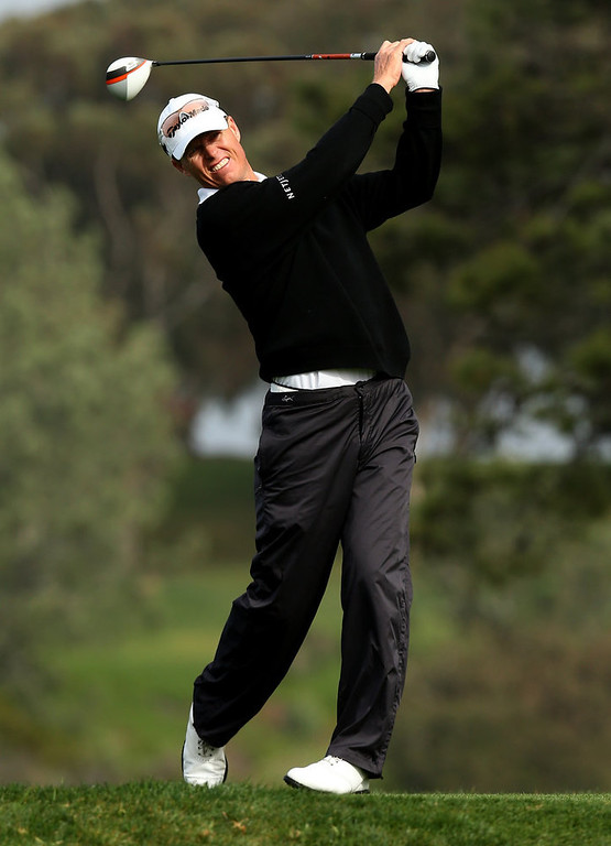 . John Senden hits his tee shot on the fifth hole during the third round of the Farmers Insurance Open on the South Course at Torrey Pines Golf Course on January 27, 2013 in La Jolla, California.  (Photo by Stephen Dunn/Getty Images)