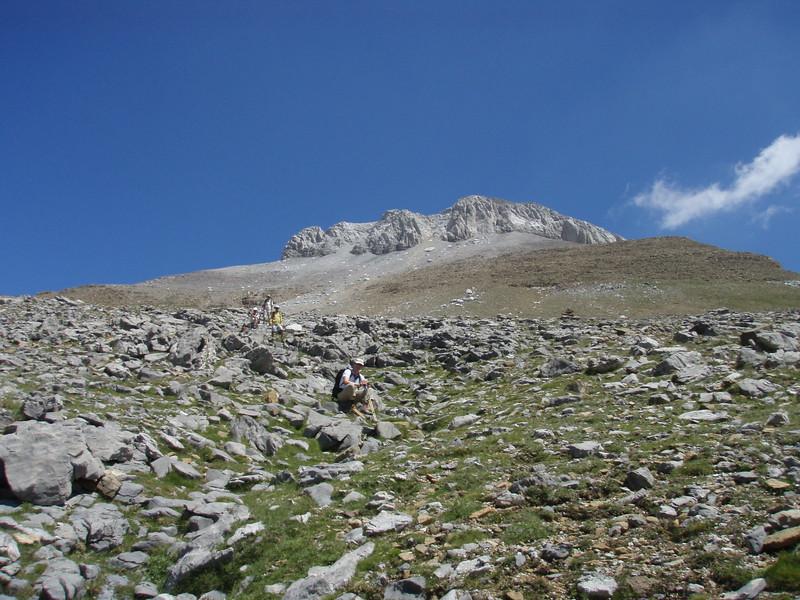 Descending La Collarada by the westerly route