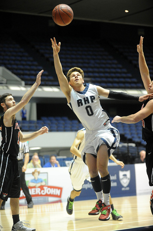 . 02-28-2012--(LANG Staff Photo by Sean Hiller)- Rolling Hills Prep beat Shalhevet 50-36 in Thursday\'s boys basketball CIF SS Div. 5-A title game at the Anaheim Convention Center Arena in Anaheim. Eric Ambrose goes to the for Rolling Hills Prep.
