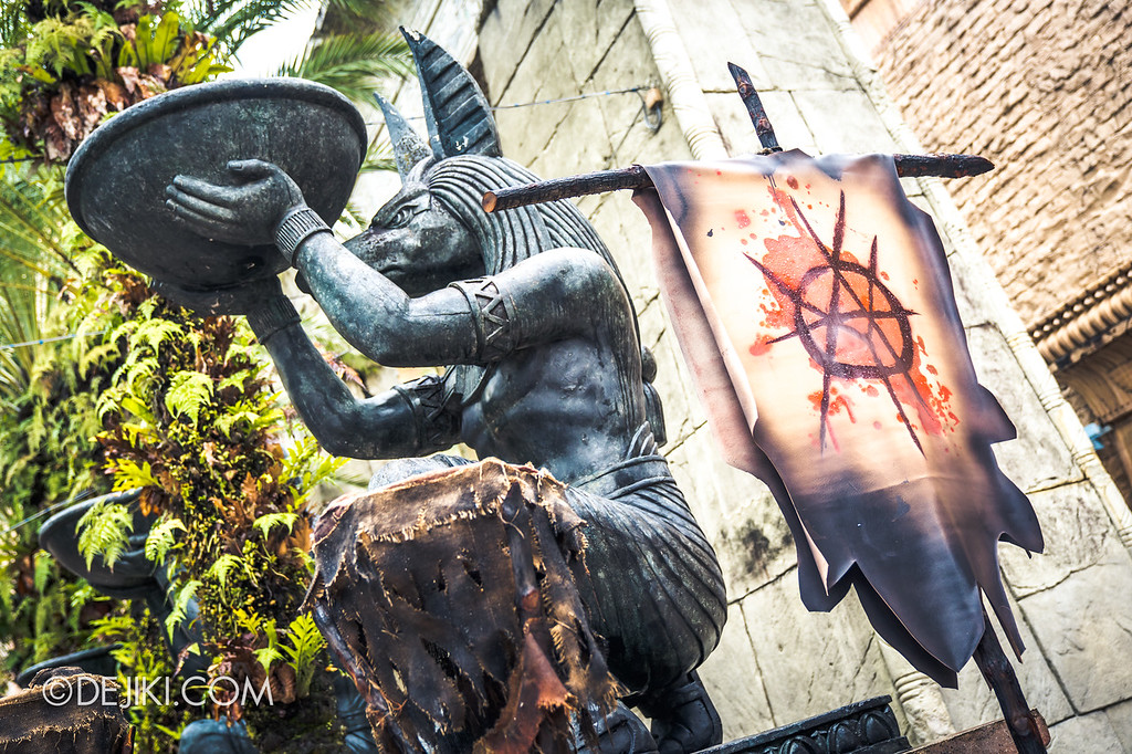 Universal Studios Singapore Halloween Horror Nights 8 Before Dark update - CANNIBAL scare zone / Tribe Insignia Banner